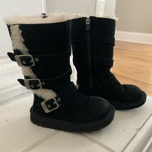 UGG Black Maddie Buckle Toddler Boots